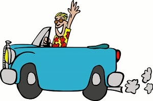 vacation blue car with waving man